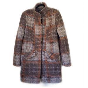MANGO Wool Blend Plaid Pea Coat - M